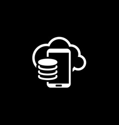Cloud storage icon flat design vector