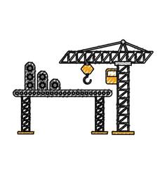 construction tower crane cabin scaffold equipment vector image
