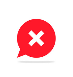 cross or x on background of red speech bubble vector image