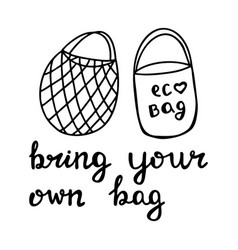 cute hand drawn doodle string and cotton eco bag vector image