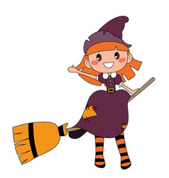 cute redheaded witch sitting on a broom isolated vector image
