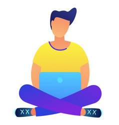 Dark haired programmer with laptop in lotus pose vector