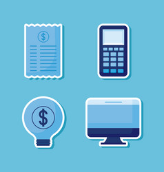 dataphone with set icons economy finance vector image