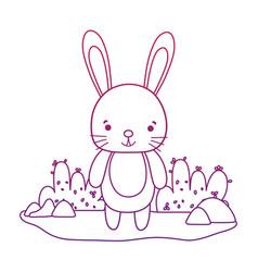 Degraded outline happy rabbit wild animal in the vector