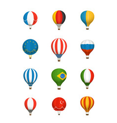 Different color baloons collection national flags vector