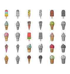 different ice cream cartoonmonochrom icons in set vector image