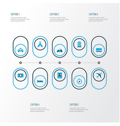 Exploration icons colored set with identification vector