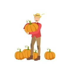 Farmer with pupmpkins holding one in hands vector