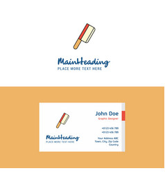 flat butcher knife logo and visiting card vector image