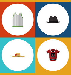Flat icon clothes set of t-shirt singlet panama vector
