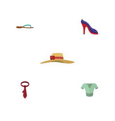 Flat icon garment set of heeled shoe beach sandal vector