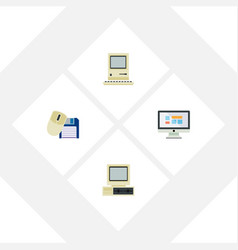 Flat icon laptop set of computing computer vector