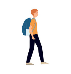flat man tourist with travel backpack vector image