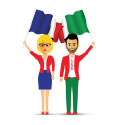 France and italy flag waving couple vector