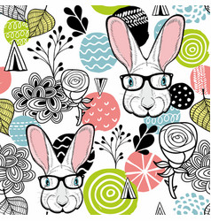 Fresh seamless pattern with cute white rabbit vector
