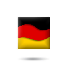 germany flag icon in shape square waving vector image