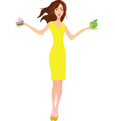 Girl holding apple and cake vector