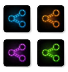 Glowing neon share icon isolated on white vector