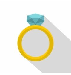 Gold ring with diamond icon flat style vector