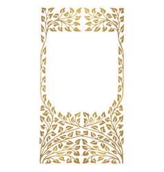 Golden frame leaves ornament vector