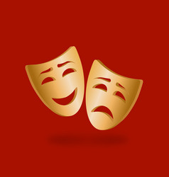 Golden theatrical masks comedy and tragedy on vector