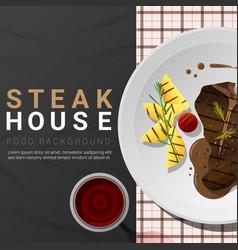 Grilled beef t-bone steak on dark background vector