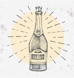 hand drawing champagne bottle on grunge background vector image