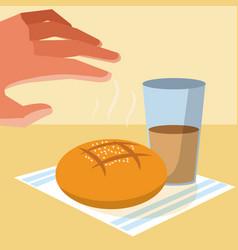 Hand grabbing a bread vector