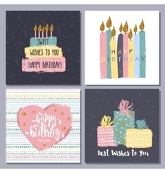 Happy birthday creative hand drawn cards vector