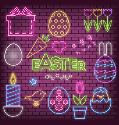 happy easter neon icons vector image