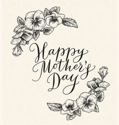 happy mothers day card with text and frame of vector image