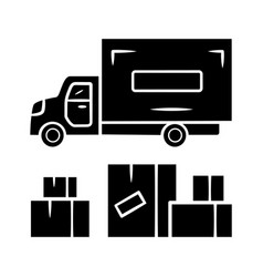 heavy goods delivery glyph icon cargo shipping vector image