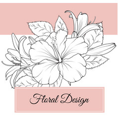 Hibiscus lily flowers floral design card template vector