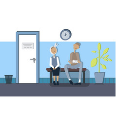 in the corridor of the clinic waiting for patients vector image