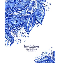 invitation card with fashion beautiful pattern vector image