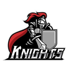 Knight mascot with shield vector