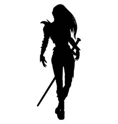Knight woman silhouette vector image