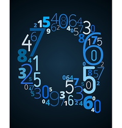 Letter Q font from numbers vector