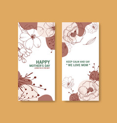 line flower flyer with design template card for vector image