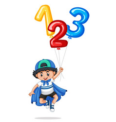 Little boy and balloon numbers one two three vector