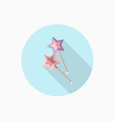 Magic wands flat icon with long shadow vector