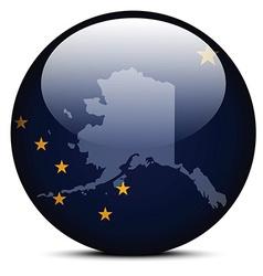 Map on flag button of USA Alaska State vector image