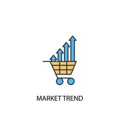 market trend concept 2 colored line icon simple vector image