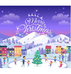 merry christmas different people on icerink vector image