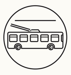 Minimal outline trolleybus icon vector