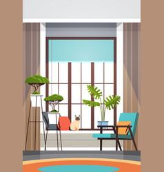 Modern empty living room interior no people vector