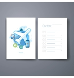Modern online travel and booking flat icons cards vector