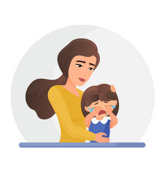Mother supporting crying little daughter flat vector