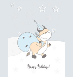 new years card 2021 a wave or a bull winter vector image