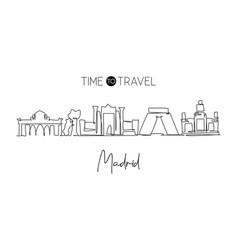 one single line drawing madrid city skyline vector image